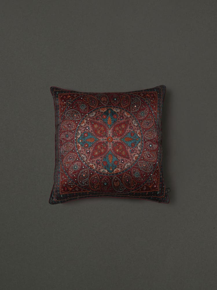 Turquoise Embroidered Cushion with Filler
