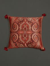 Maroon Jamavar Print Square Cushion with Filler