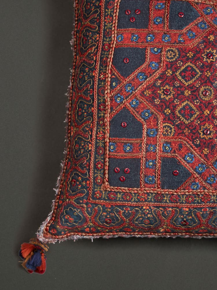 Blue & Red Ajrakh Cushion with Filler