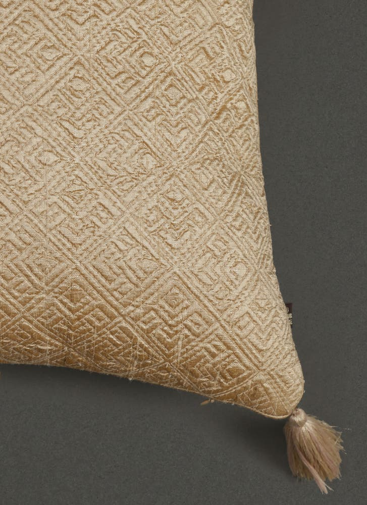 Beige Quilted Core Cushion with Filler