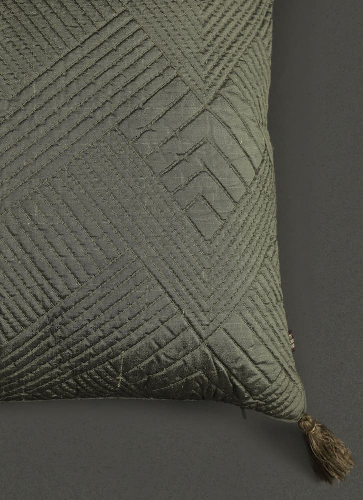 Green Quilted Core Cushion with Filler