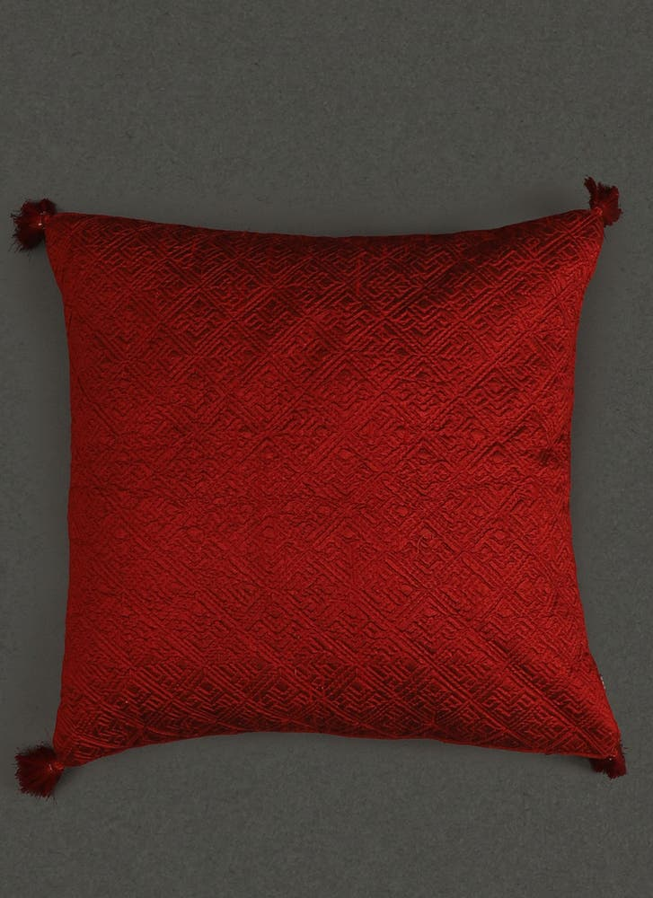 Red Quilted Core Cushion with Filler