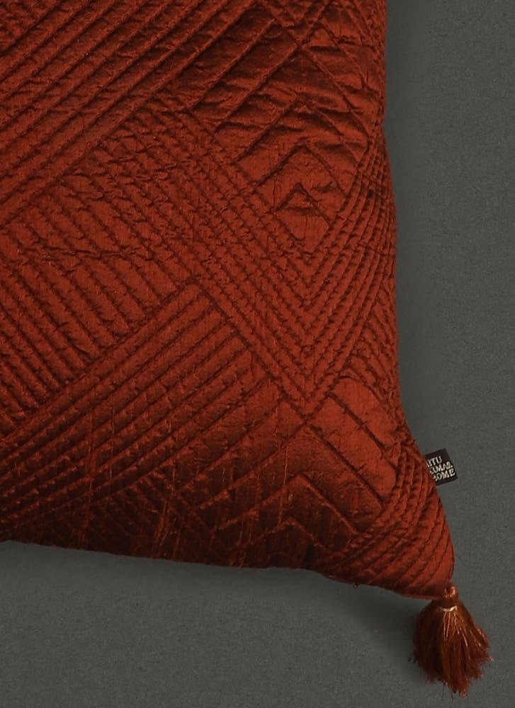 Rust Quilted Core Cushion with Filler