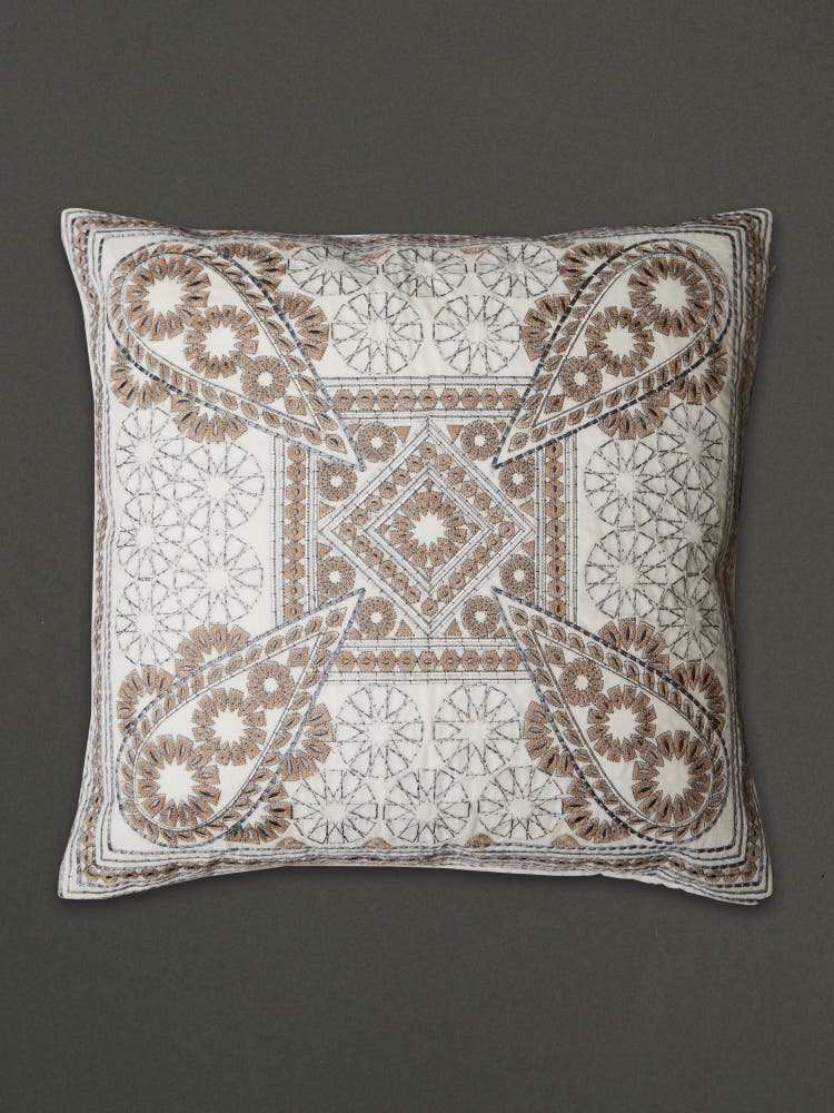 Off White Embroidered Cushion with Filler