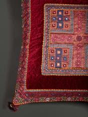 Burgundy Square Velvet Cushion