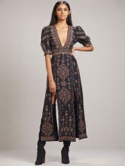 Midnight Blue Embroidered Dress with Slits