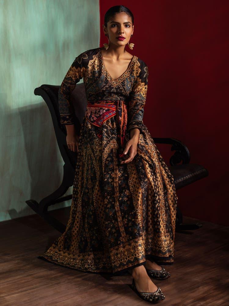 Charcoal Black & Beige Printed Chanderi Kurta Dress