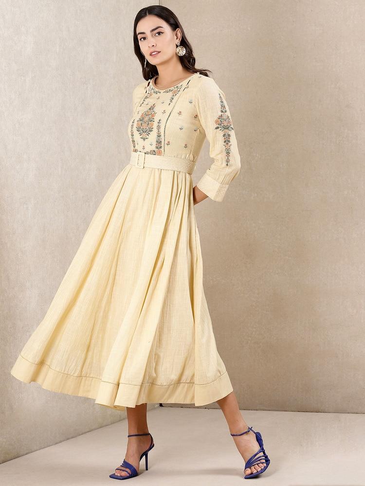 Ecru Embroidered Dress