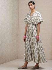Beige Paisley Print Kaftan Dress