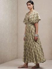 Olive Paisley Print Kaftan Dress