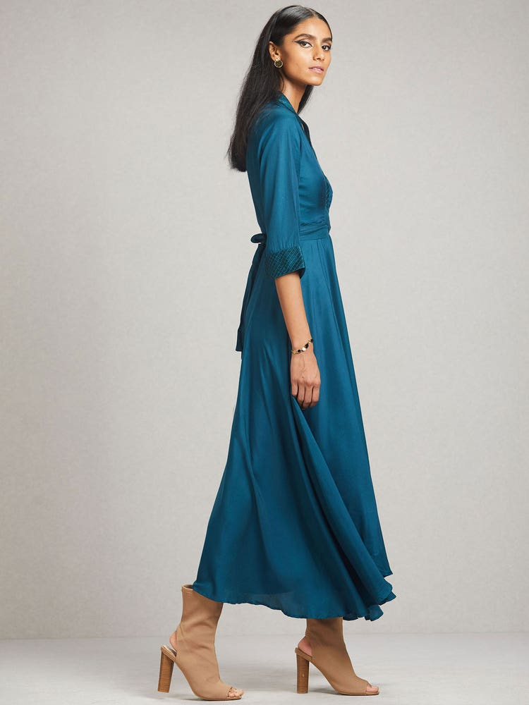 Peacock Blue Solid Dress