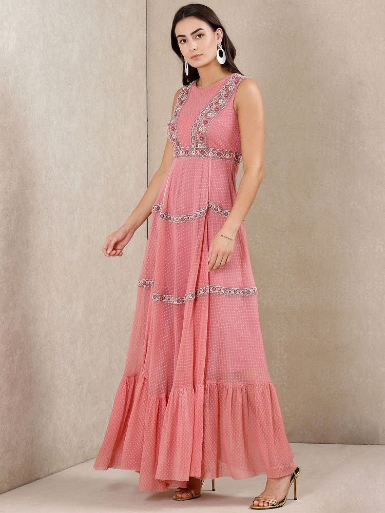 Coral Embroidered Tiered Dress