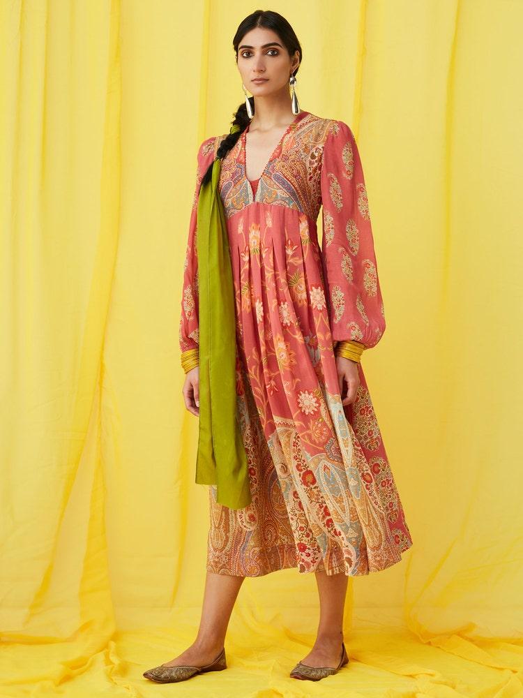 Rose Pink Paisley Print Dress