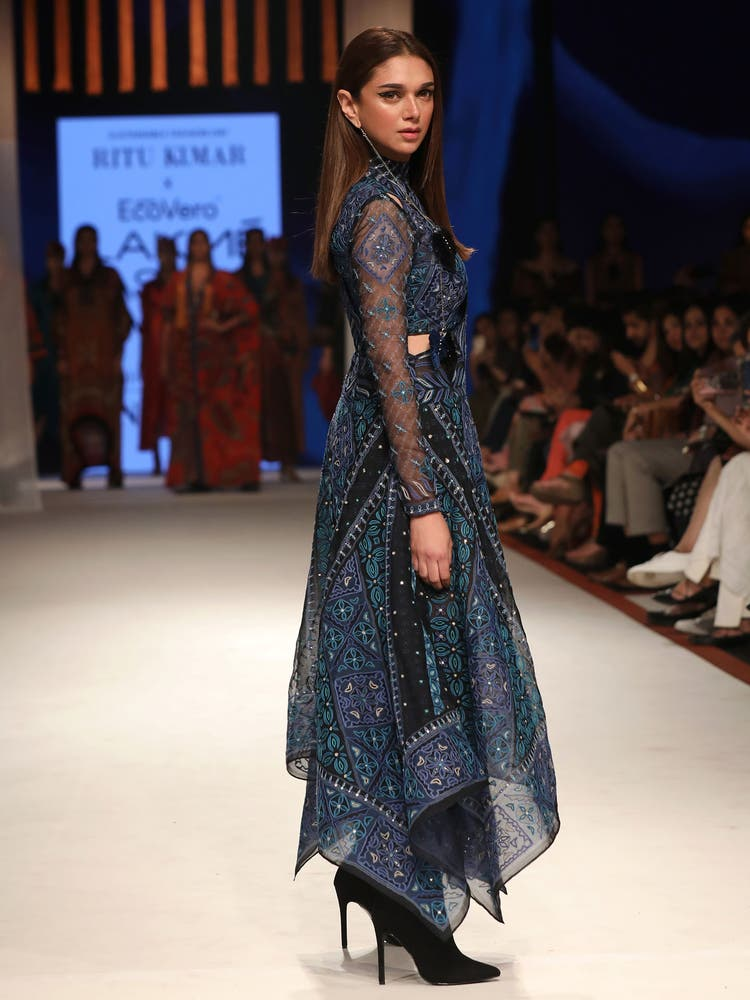 Aditi Rao Hydari in an Indigo Printed Cut-Out Dress