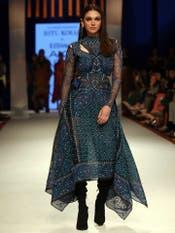 Aditi Rao Hydari in an Indigo Printed Cut-Out Dress