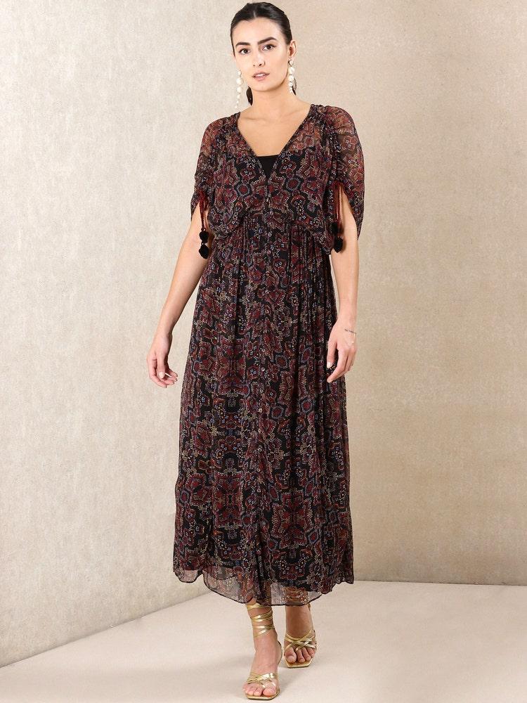 Black Printed Kaftan Dress