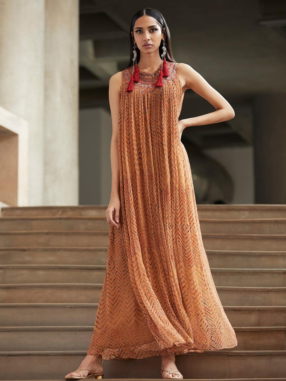 Beige Leheriya Dress