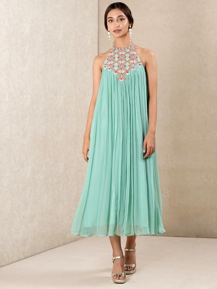 Aqua Blue Embroidered Dress