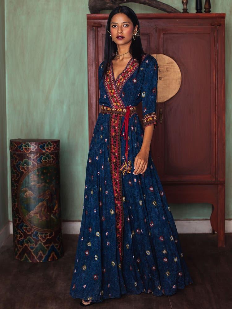 Navy Blue Mirror-Work Dress