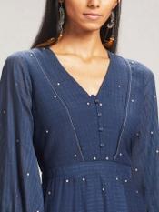 Navy Blue Solid Dress