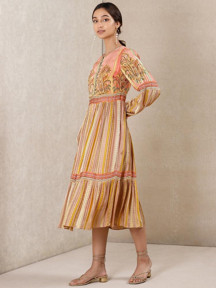 Coral Printed Satin Dress