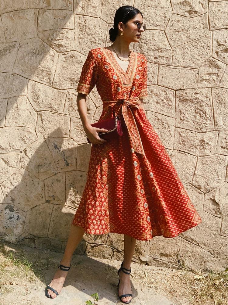 Rust & Beige Printed Chanderi Tie-up Dress