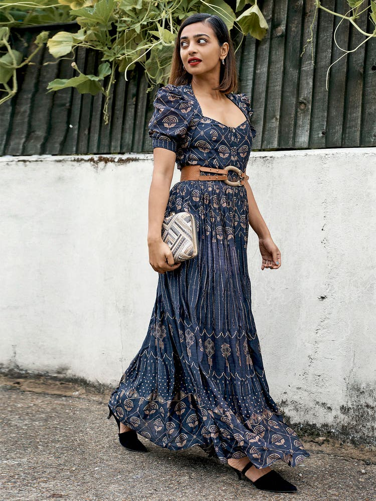 Radhika Apte in a Indigo Shibori Print Kurta Dress