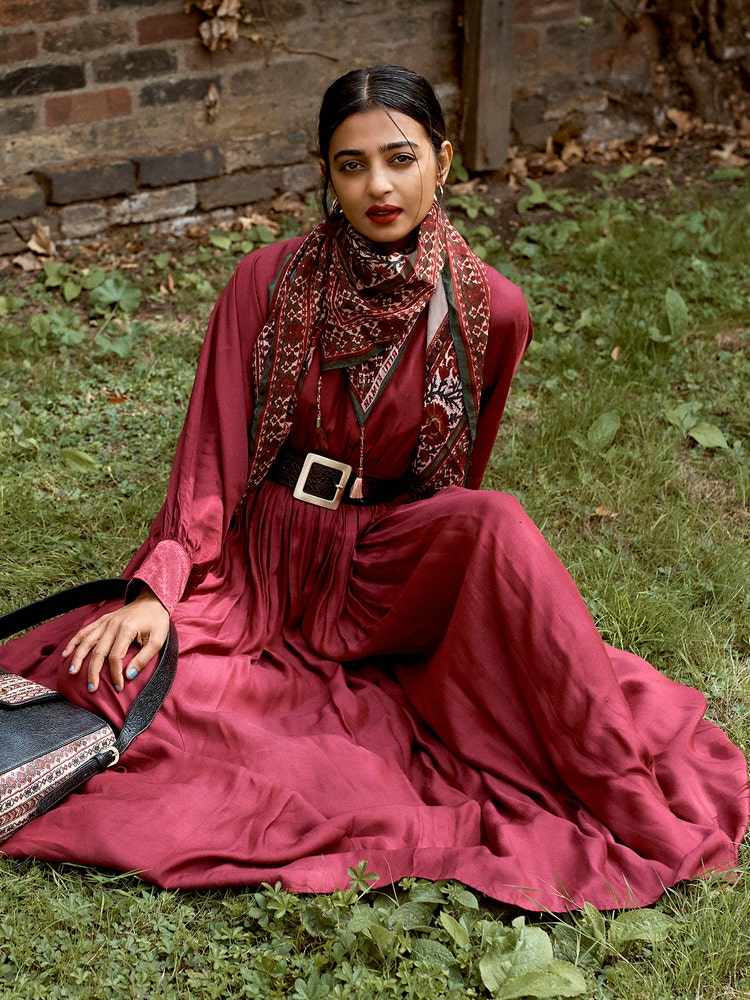 Radhika Apte in a Plum Cut-Out Dress