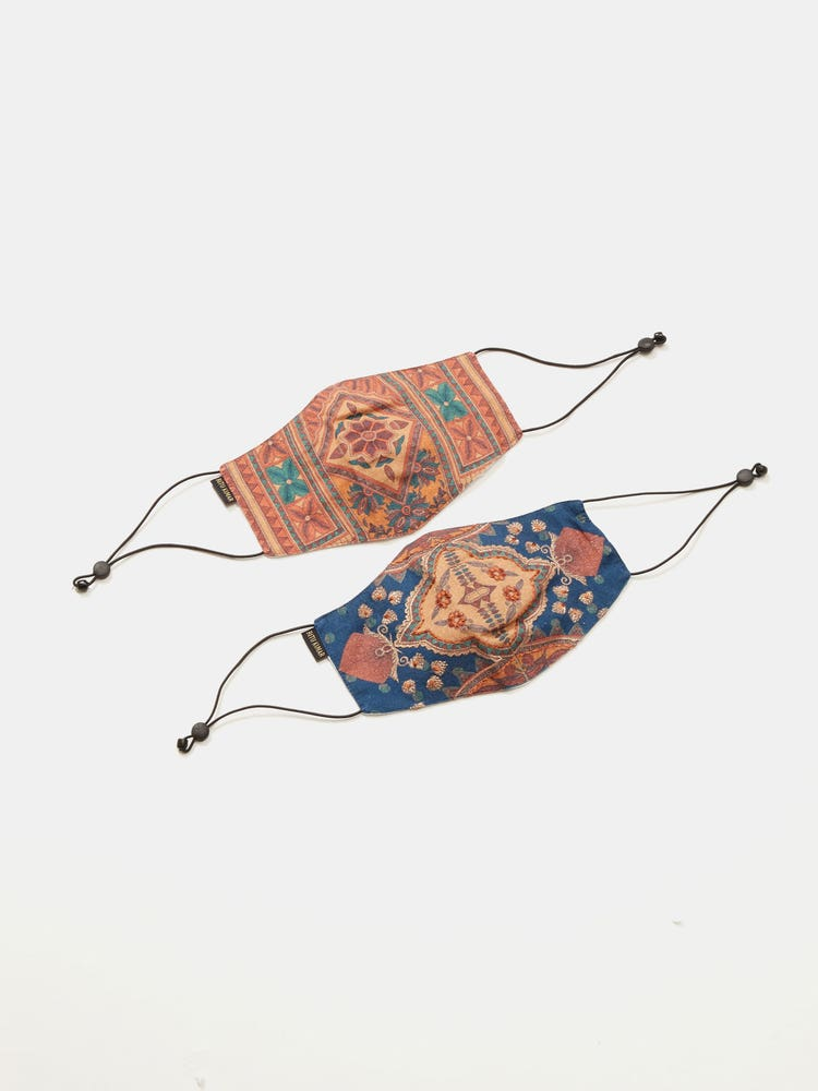 Blue & Beige Reusable Masks (Set Of 2)