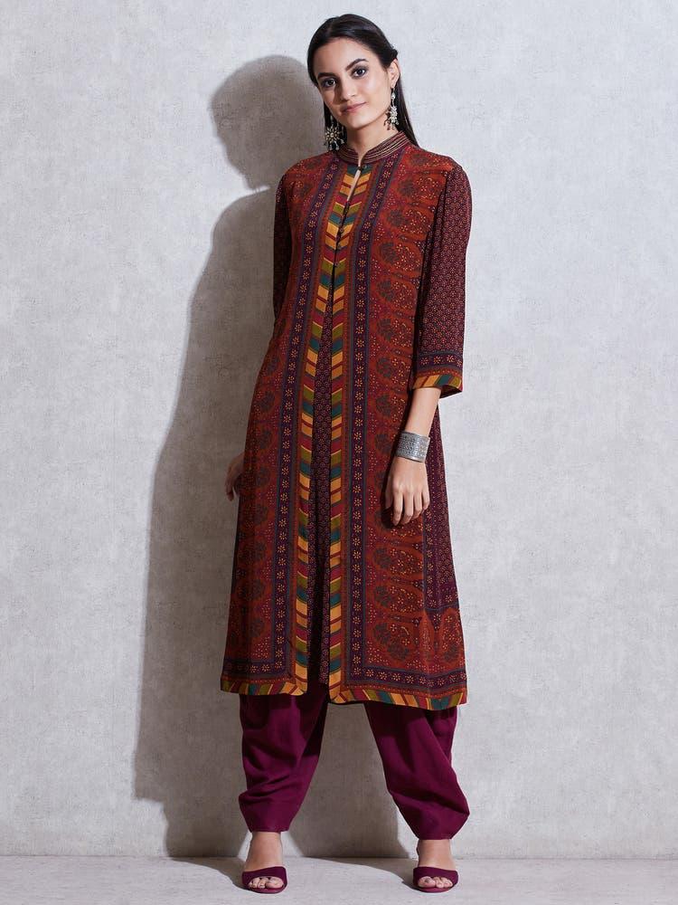 Prune & Rust Floral Print Jacket