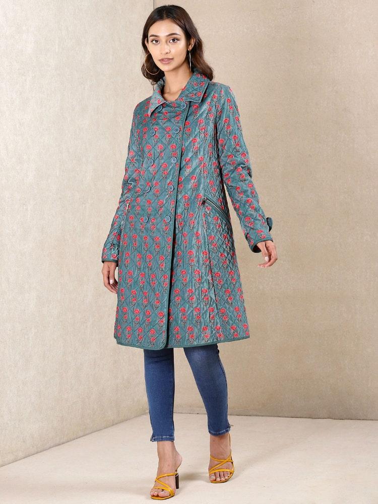 Teal Printed Velvet Jacket