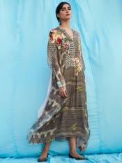 Grey Floral Print Kaftan
