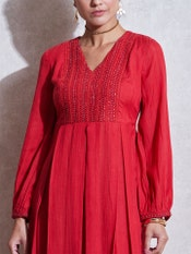 Red Embroidered A-Line Kurta
