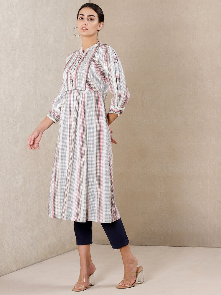 Off White Striped Cotton Kurta