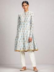 Sky Blue Printed Chanderi Kurta