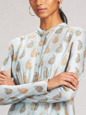 Sky Blue Printed Chanderi Kurta