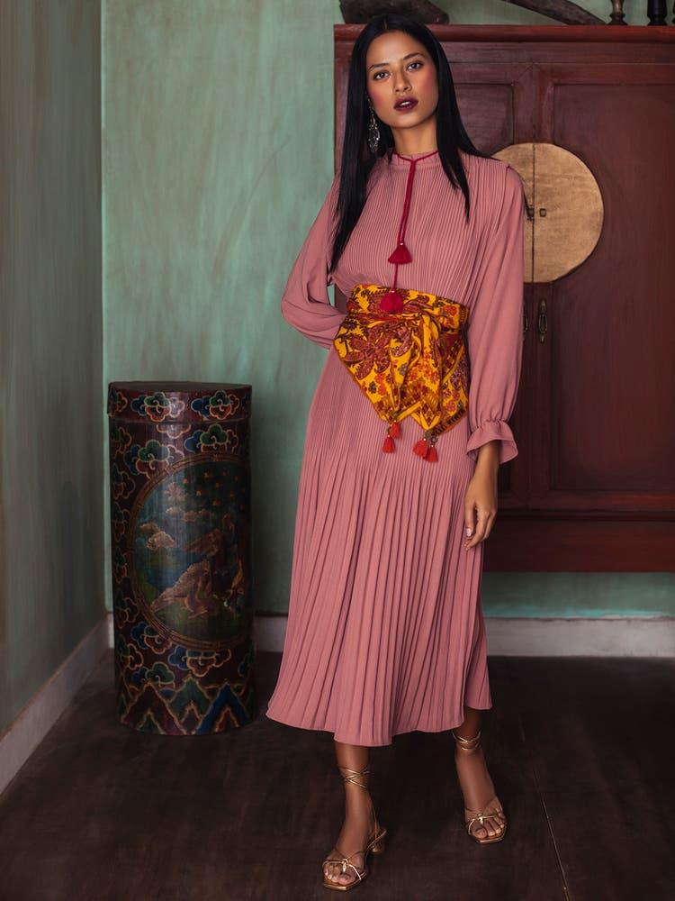 Rose Pink Pleated Kurta Dress
