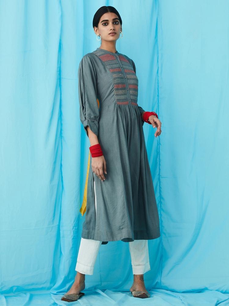 Grey Emboidered Kurta