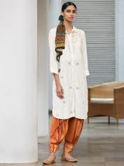 Ivory Schiffli Shirt Kurti