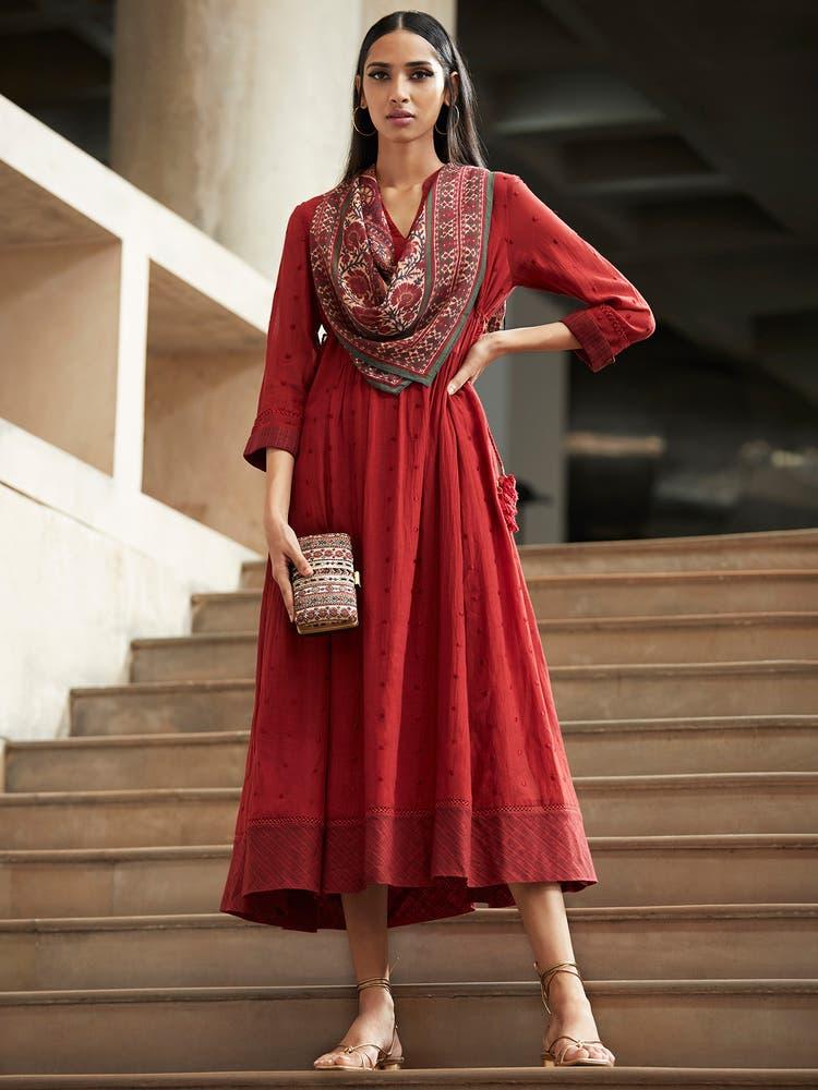 Burgandy Solid Dress