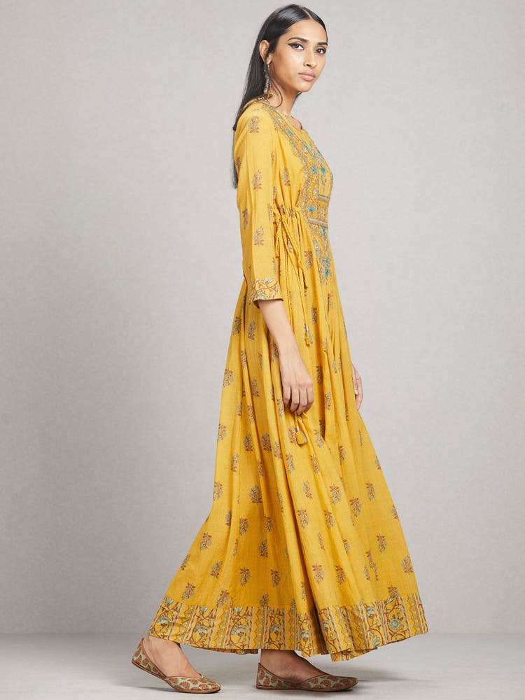Yellow Printed Anarkali Kurta Dress