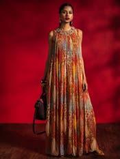 Brick Red Printed Kurta Dress