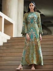 Radhika Apte in a Green Printed Cut-Out Dress