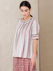 Off White Striped Cotton Kurti