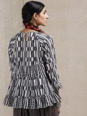 Black & White Geometric Print Kurti