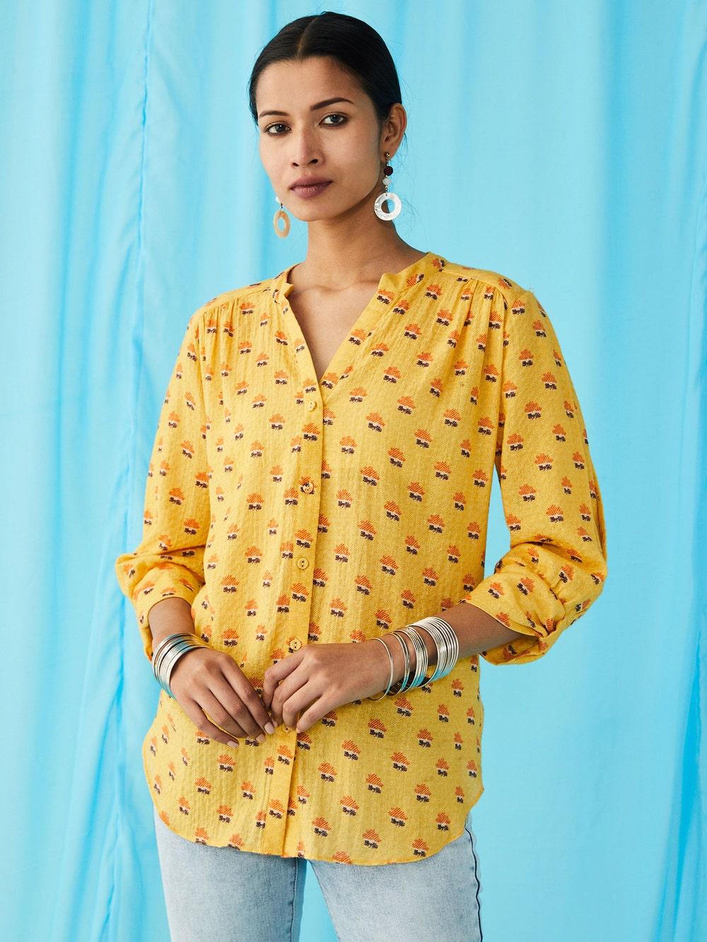 Yellow Floral Print Kurti