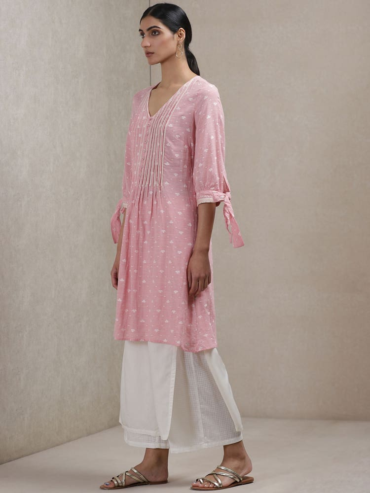 Blush Pink Self-Work Kurti
