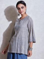 Grey Asymmetrical Cotton Kurti