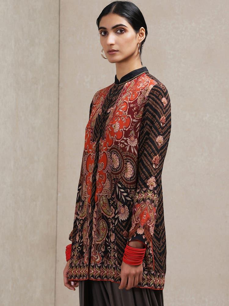 Black & Red Foral Print Kurti