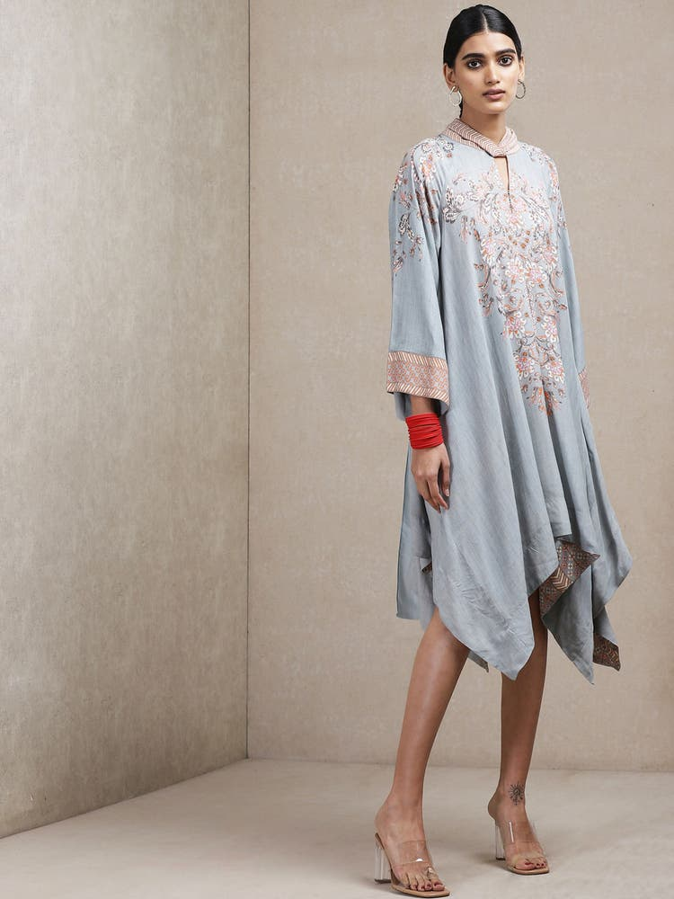 Light Grey Floral Print Asymmetric Dress